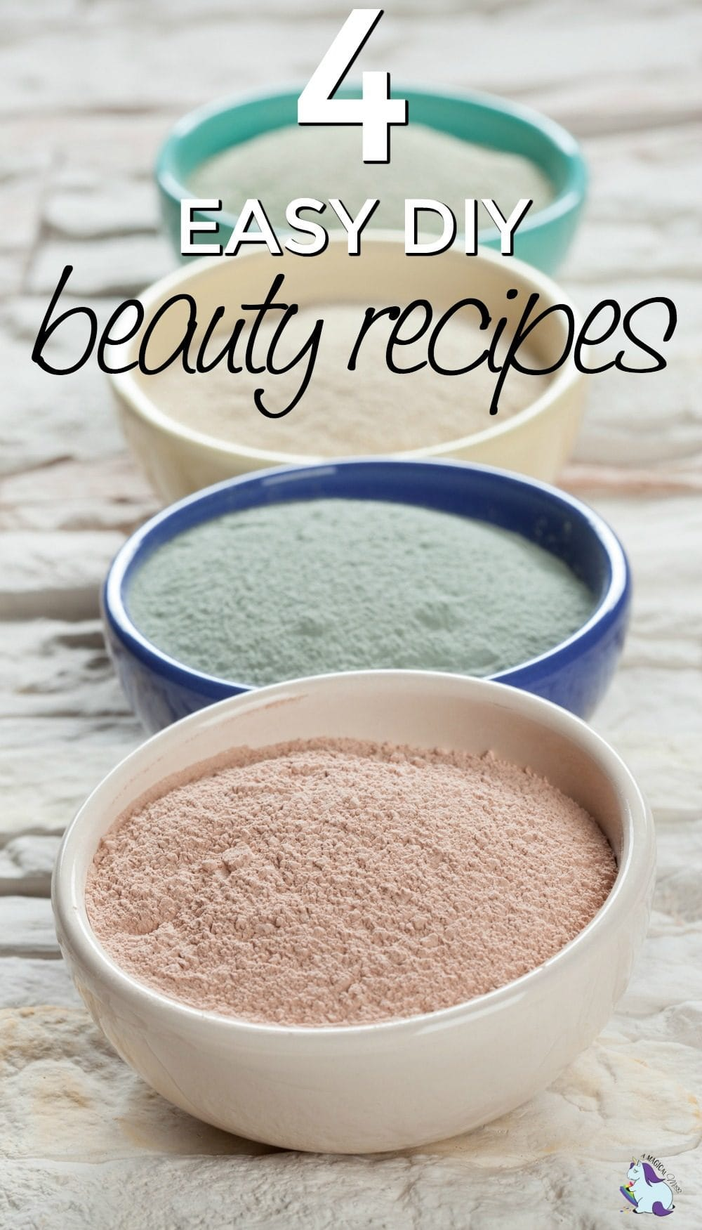 Composition of ceramic bowls with different types of sea clay powder: white, pink, green and blue; concept of facial and body treatment