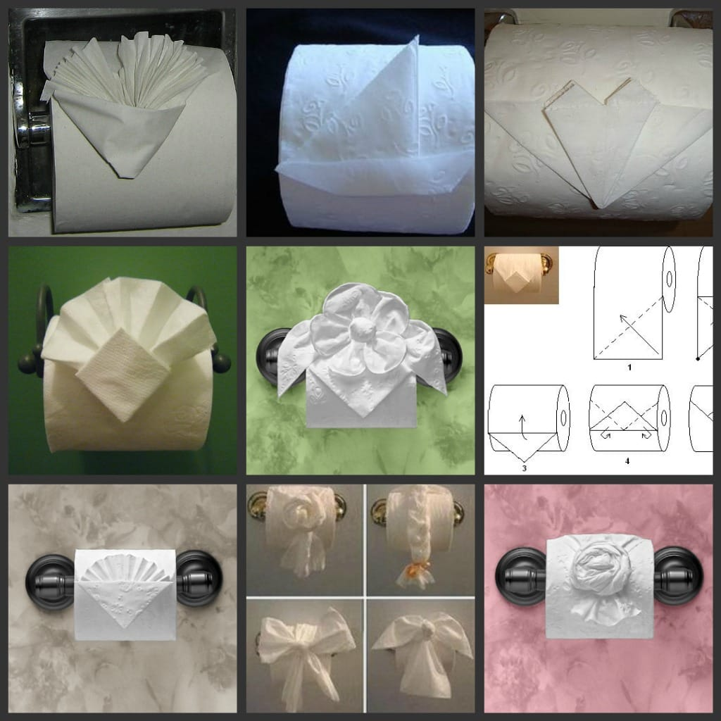 Collage of toilet paper art