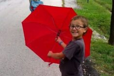 red umbrella kid