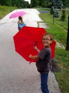 red umbrella kid