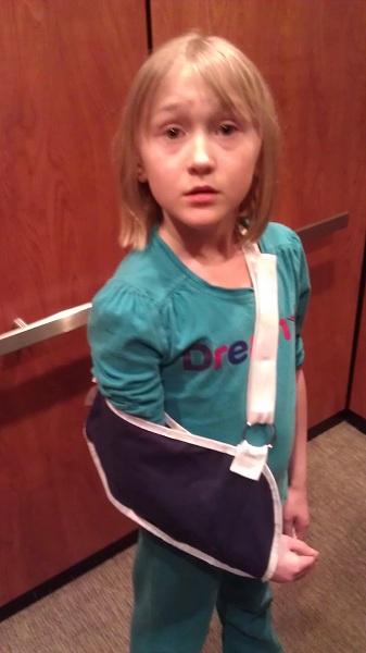 Broken arm in elevator