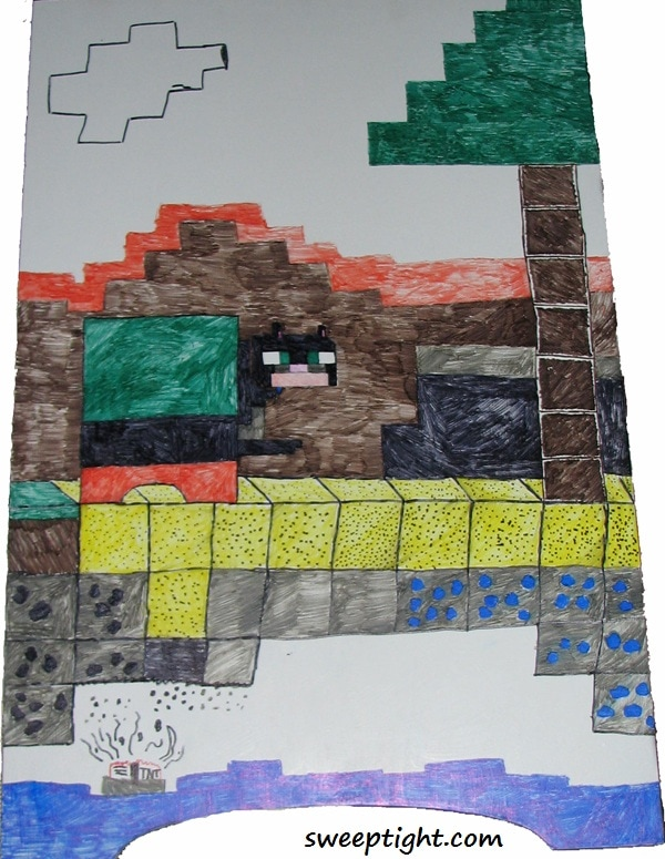 Minecraft inspired artwork on Litter-Robot Cabinet