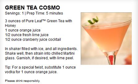 Summer entertaining green tea cosmo