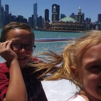kids smiling on vacation