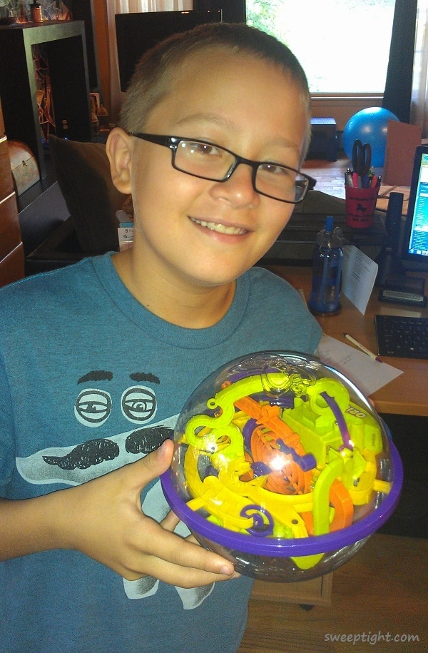Adam with the Perplexus puzzle game