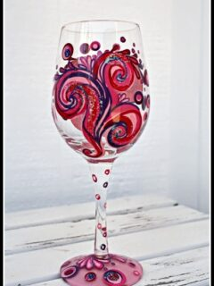 girls night hand painted wine glass