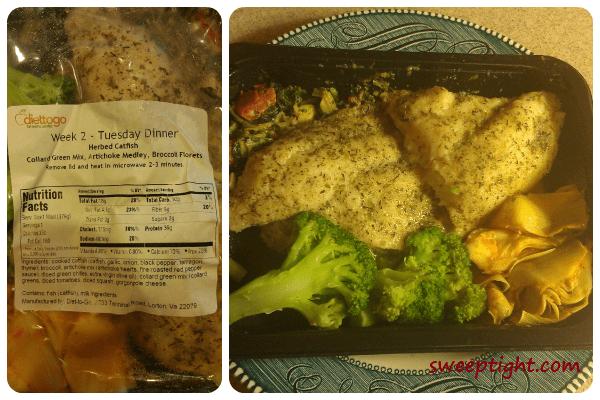 Diet-To-Go catfish dinner health food