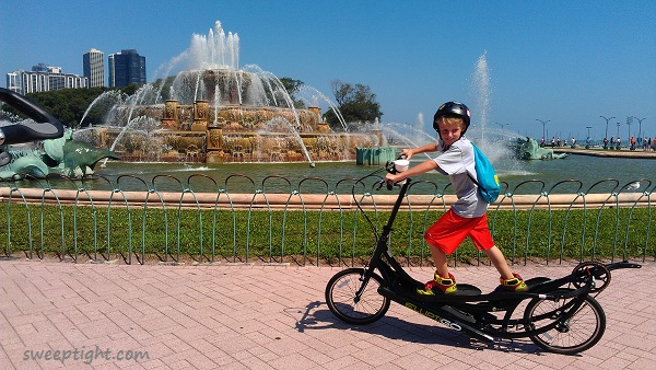 Niko on ElliptiGo by Buckingham Fountain Chicago