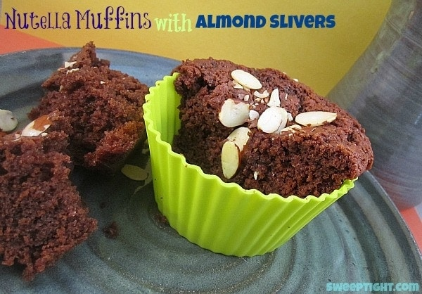 Nutella Muffins with Greek Yogurt and Almonds