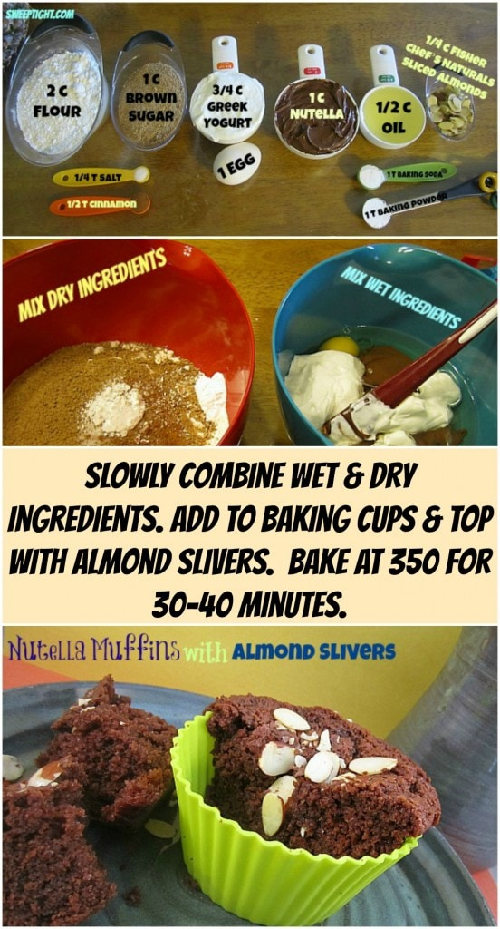 Nutella Muffins with Almond Slivers Recipe
