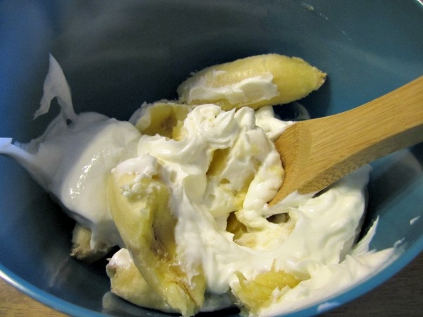 mash bananas and greek yogurt