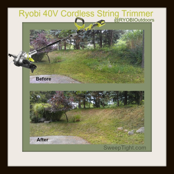 RYOBI Outdoor 40V Lithium battery powered tools Weed Eater before and after #sponsored