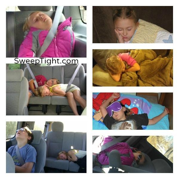 Silly kids will sleep anywhere