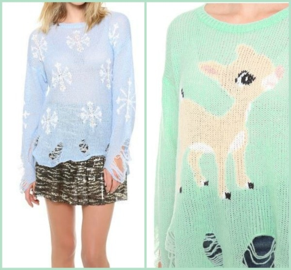 distressed christmas sweaters