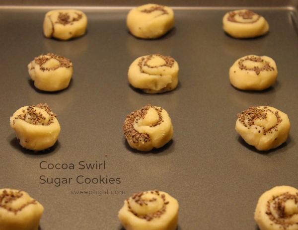 American Heritage Chocolate Cocoa Swirl Sugar Cookies Raw on pan #Sponsored #MC