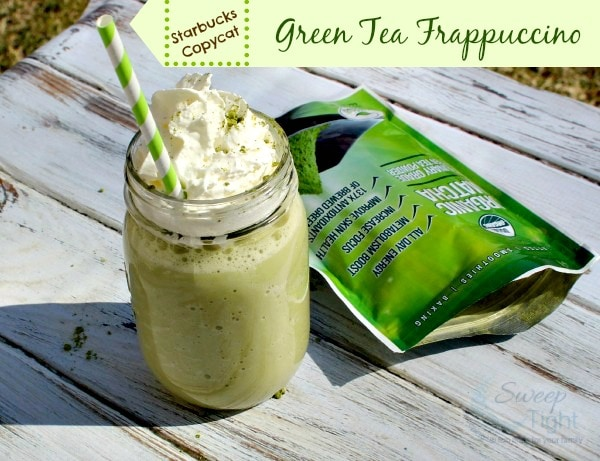 Copycat Starbucks Green Tea Frappuccino sitting outside