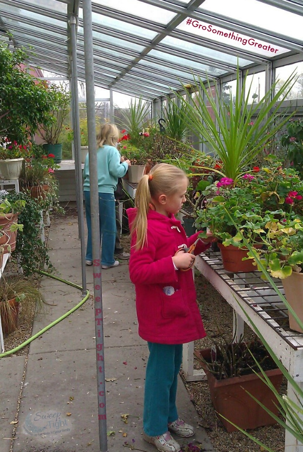 family fun in the greenhouse