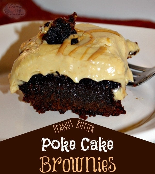 Peanut Butter Poke Cake Brownies Recipe #CookingUpGood