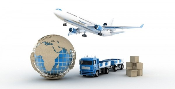Airplane, globe, and truck to represent different ways to ship products