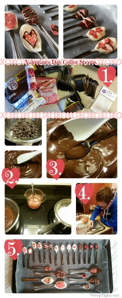 Collage of pictures during the process of making chocolate covered spoons
