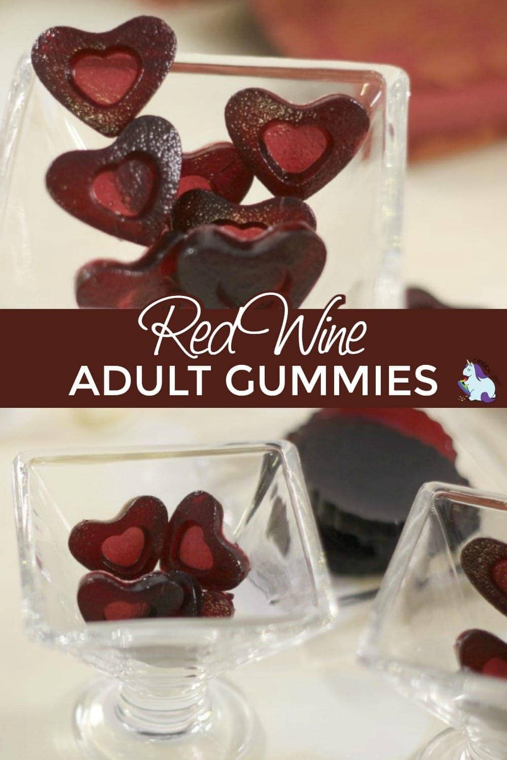 heart gummies in decorative dishes