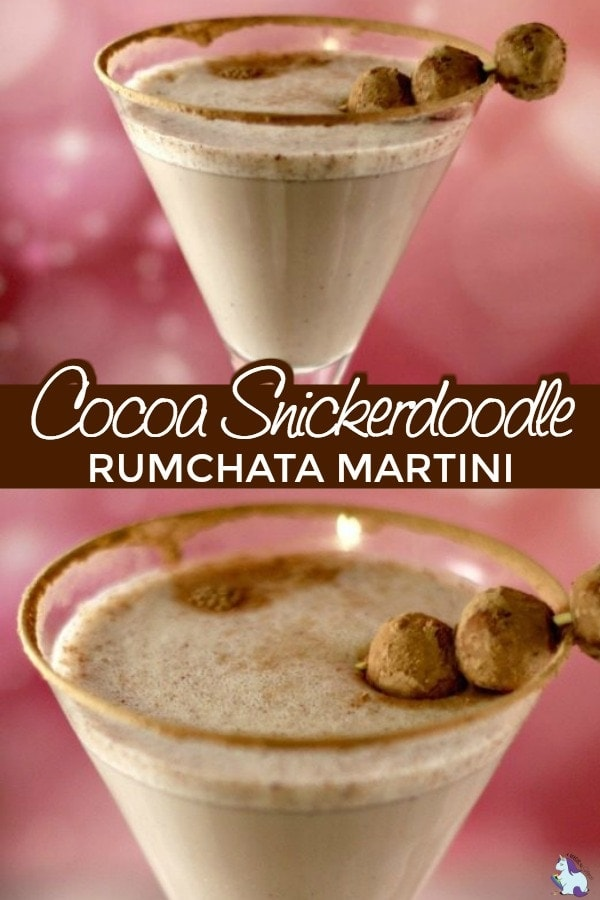 Snickerdoodle martini in a glass with truffle garnish