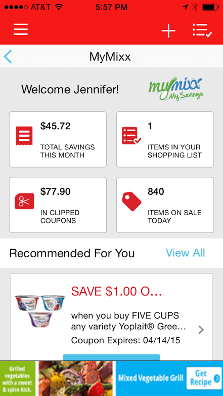 MyMixx App shows my savings