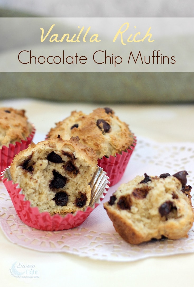 vanilla rich chocolate chip muffins recipe a magical mess. Black Bedroom Furniture Sets. Home Design Ideas