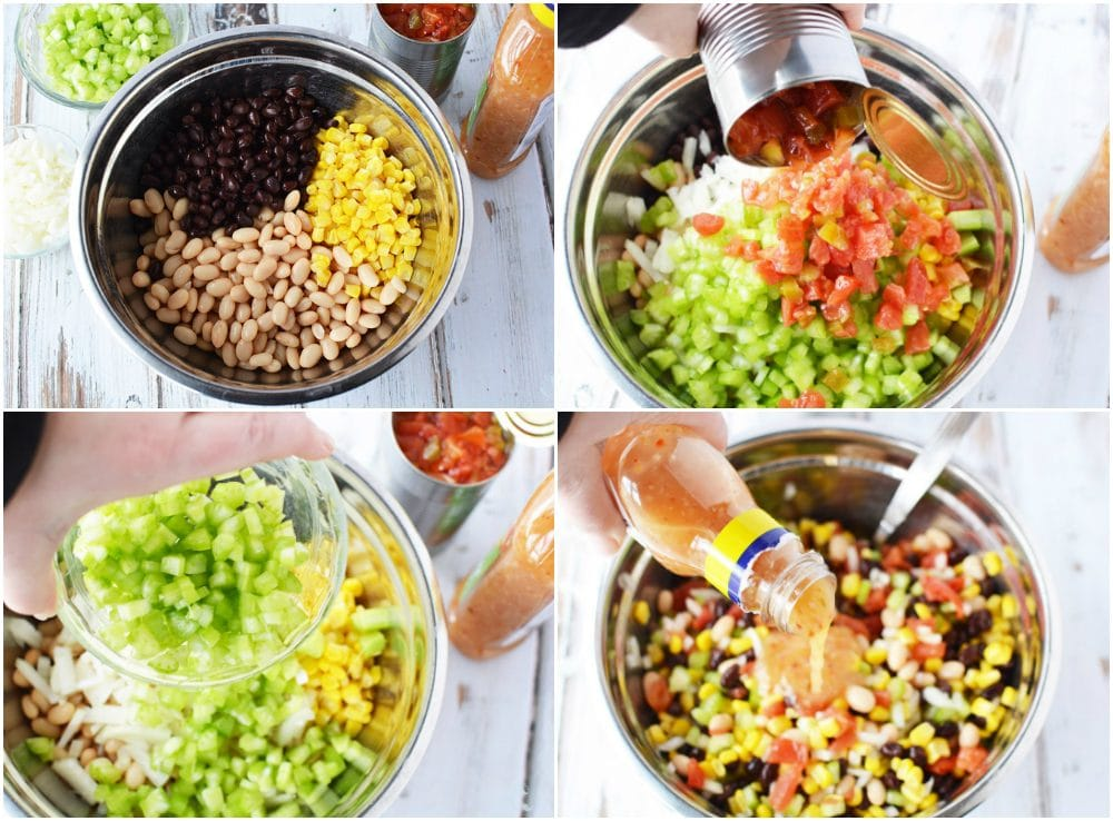 Bean salad recipe in process