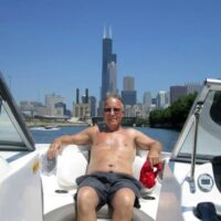Dad boating in the Chicago River