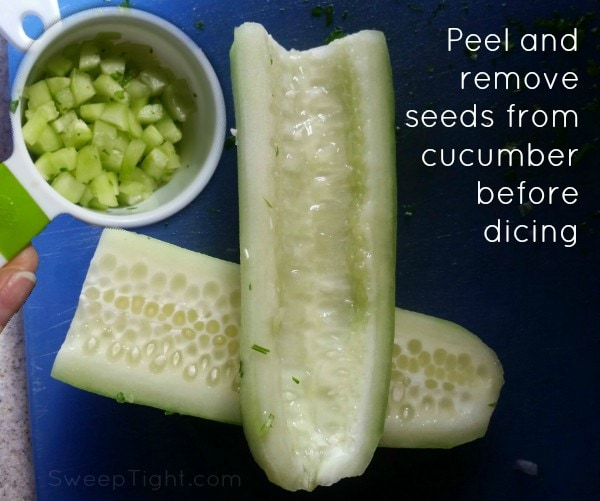 Peeled, seeded and diced cucumber for tabouli salad recipe