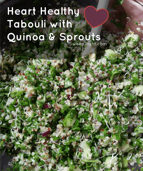 Heart healthy tabouli salad with quinoa and sprouts recipe #yum #macrofriendly #healthy