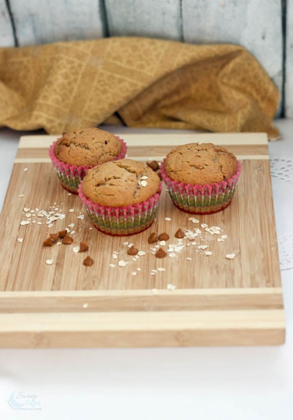 Peanut Butter Banana Muffins Recipe with Cinnamon Chips