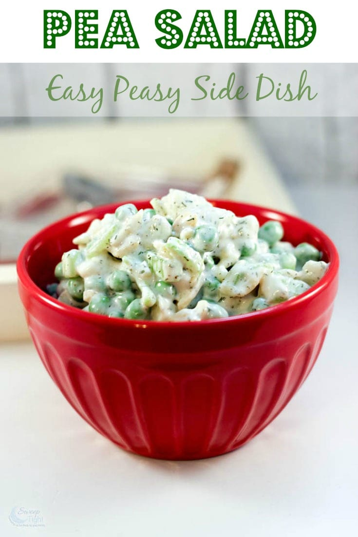 Pea salad recipe easy bbq side dish sweep tight for Easy salad ideas for bbq
