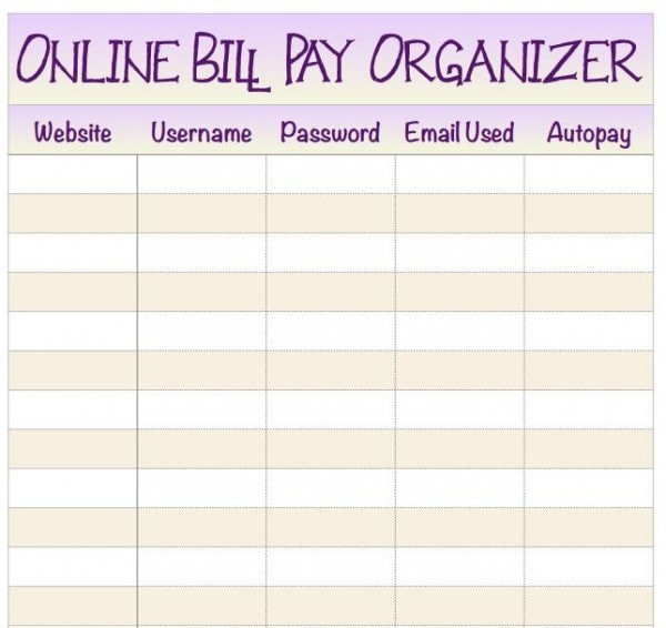 Hp instant ink is helping me get organized free for Home finance bill organizer template