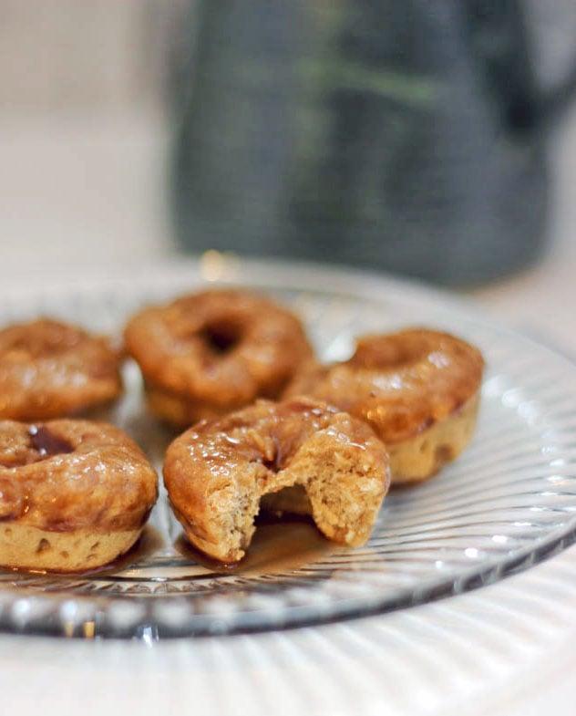 Donut Recipe - Baked Mini Coffee Doughnuts with Cocoa Glaze