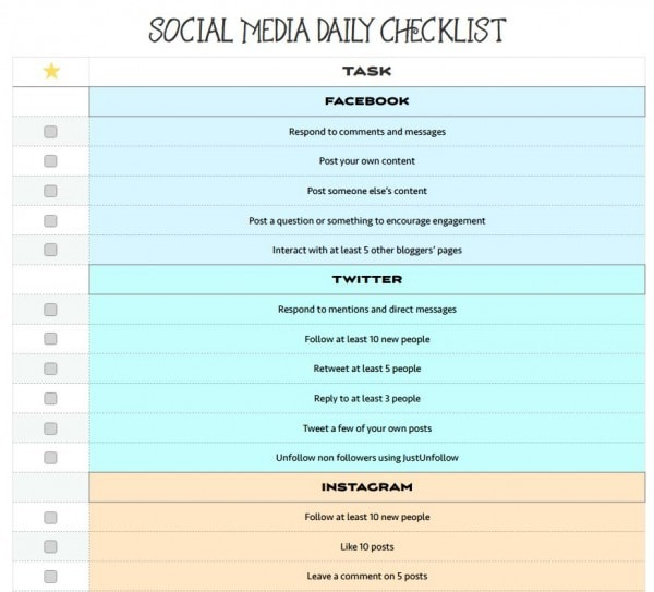 Social media daily checklist for bloggers - free printable