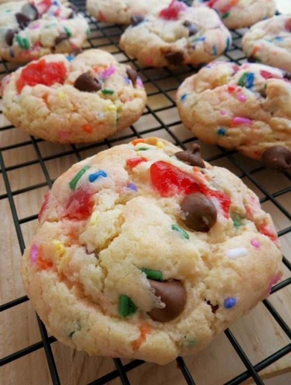 Cookies with cherries and chocolate chips