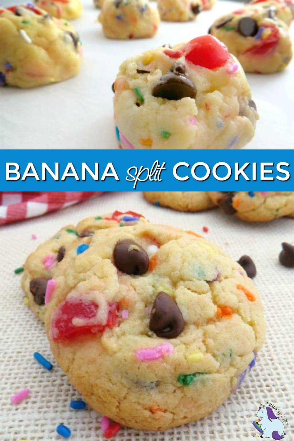 Banana split cookies - cookie dough and baked