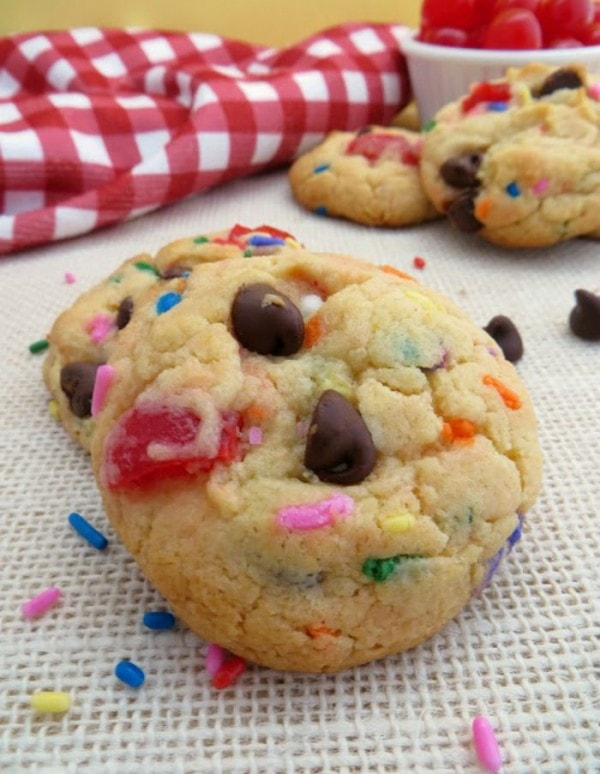 Fun banana split cookies with sprinkles