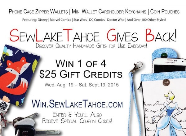 SewLakeTahoe giveaway phone wallet, business card holders, all customizable!