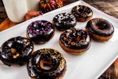 Gingerbread Doughnut Recipe with Dark Chocolate Glaze and Halloween Sprinkles