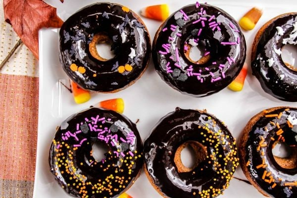 Gingerbread Doughnut Recipe with Dark Chocolate Glaze and Halloween Sprinkles
