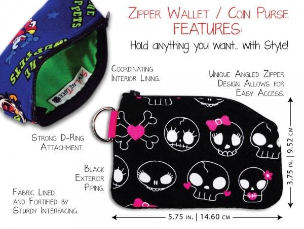zipper coin purse wallet features