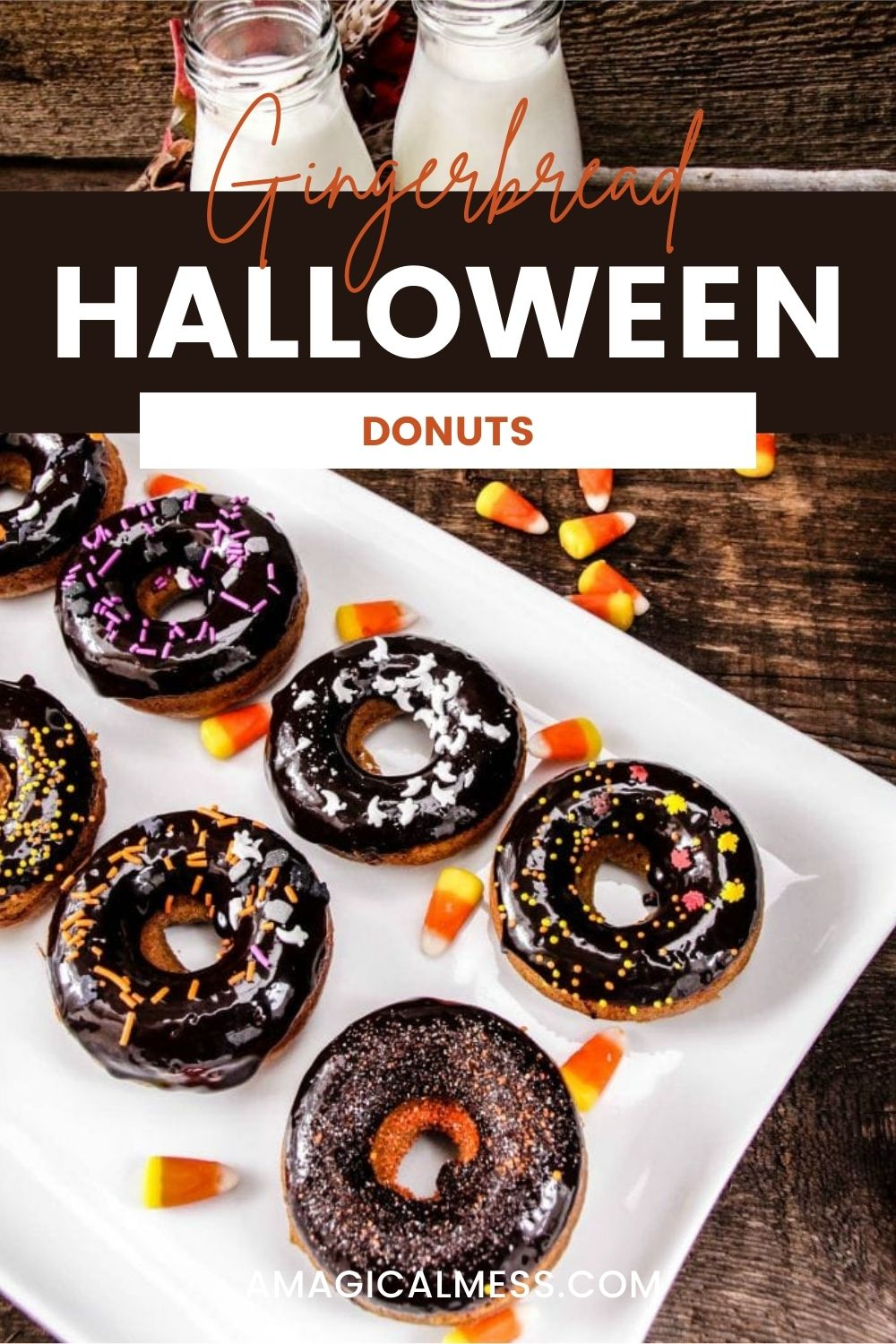 Dark chocolate donuts with halloween sprinkles on a plate.