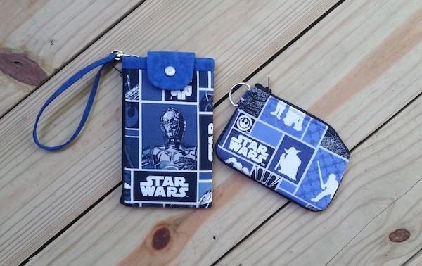 Custom Star Wars phone wallet with zipper wristlet #SewLakeTahoe #spon