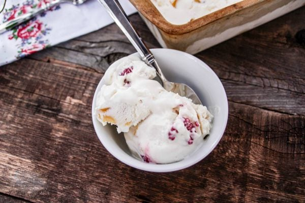 Raspberry and Peach No Churn Ice Cream Recipe