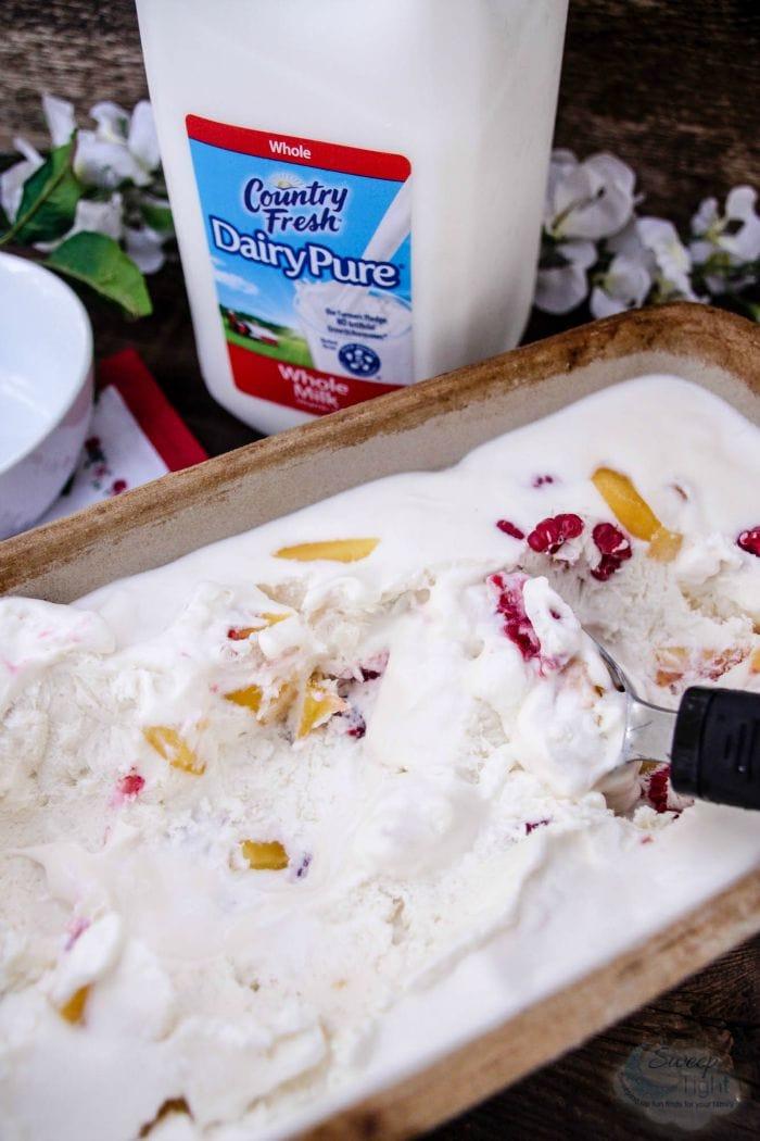 Raspberry and Peach No Churn Ice Cream Recipe