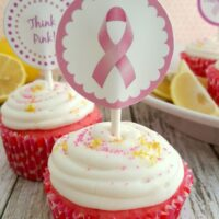 Strawberry Cupcakes Recipe with Think Pink Printables