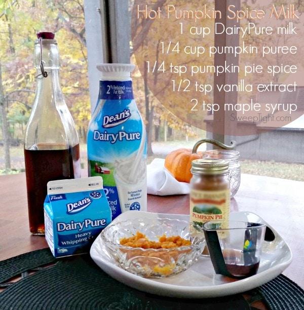 5 Ingredients 5 minutes. Pumpkin spice milk recipe moms and kids love. #ad #dairypure #pureandsimple